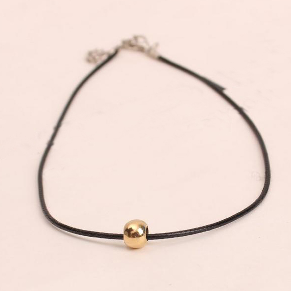 2018 Simple Fashion Choker Necklace Thin Black Leather Rope Necklaces Metal  Beads Short Necklace Women 5N420-in Pendant Necklaces from Jewelry &  Accessories ...