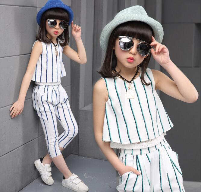 Girls Striped Sets 2017 Children's Summer Newest Striped Sleeveless Chiffon Two Pieces Sets Kids Vest + Pants 2PCS Clothing Set