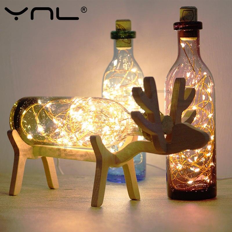 YNL USB Deer LED Night Light Children table lamp with String lights Loft Creative Nordic Styles wood handmade Glass home decor цена
