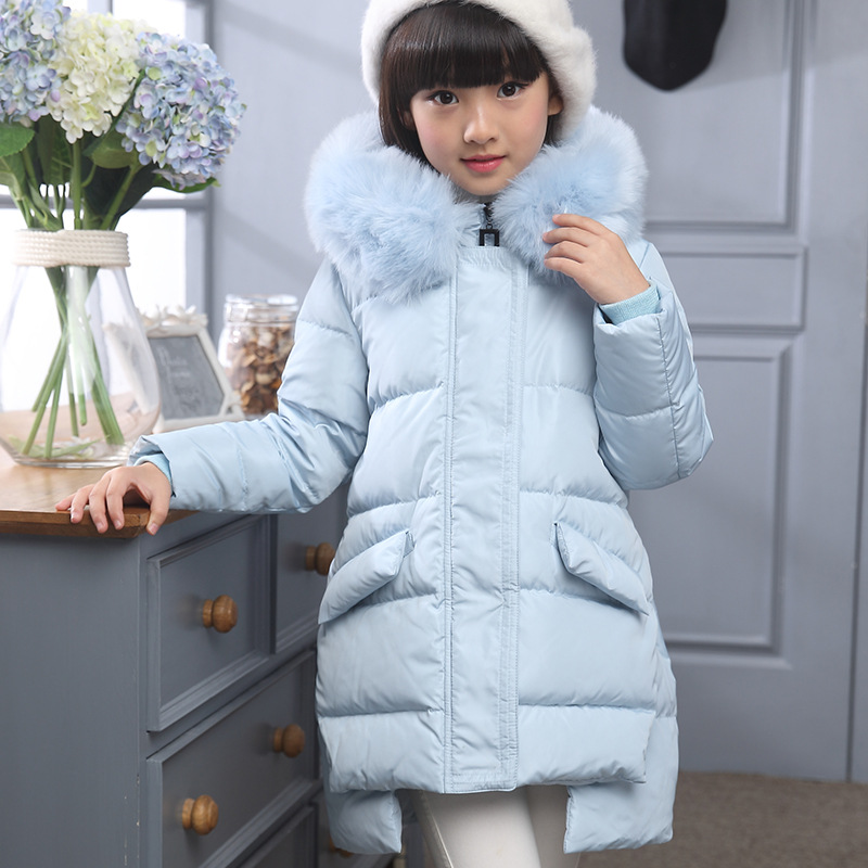 2016 Fashion Girl's Duck Down Jackets Coats Winter Russia Baby Fur Hooded Thick Warm Jacket Children Outerwear -30 Degree fashion girl winter down jackets coats warm baby girl 100% thick duck down kids jacket children outerwears for cold winter b332