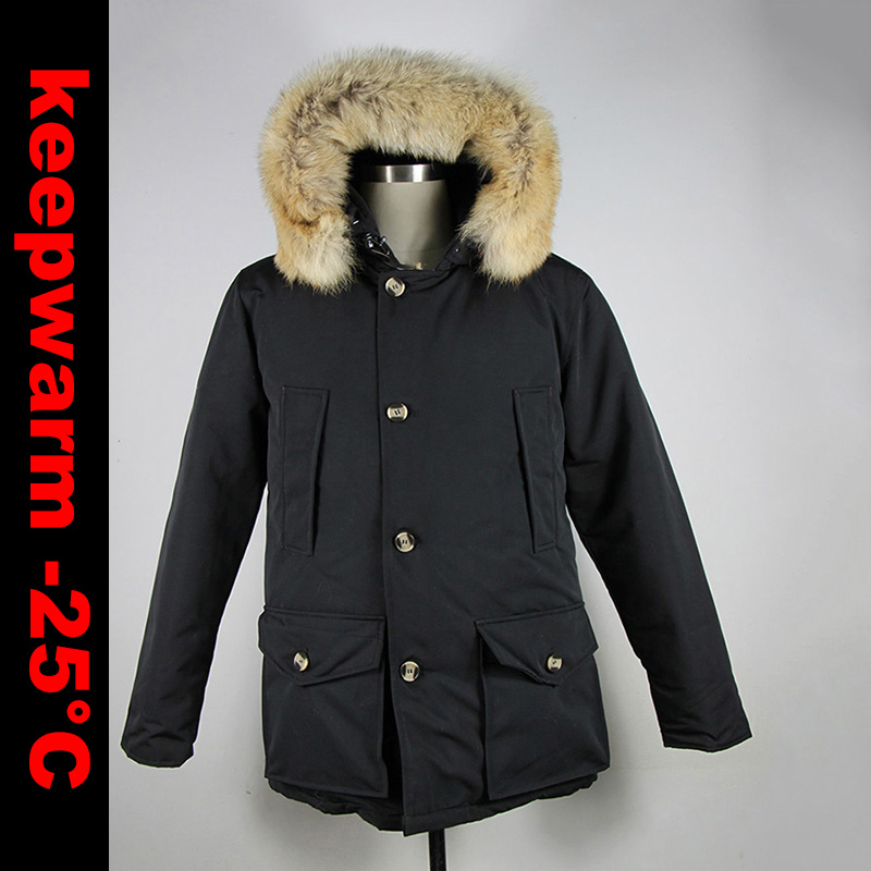2018 Brand New Mens White Duck   Down   thick   Coat   Winter Arctic   Down   PARKA with removable real big coyote fur Jacket