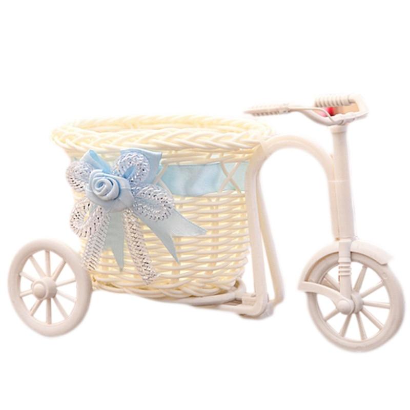 1pcs Handmade Rattan Weave Bicycle Flower Basket Home Garden Decor Wedding Party Decoration Flower Holder 1