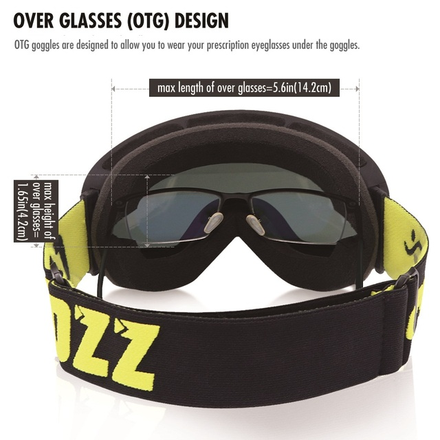 ski goggles double layers UV400 anti-fog big men women snowboard goggles 10