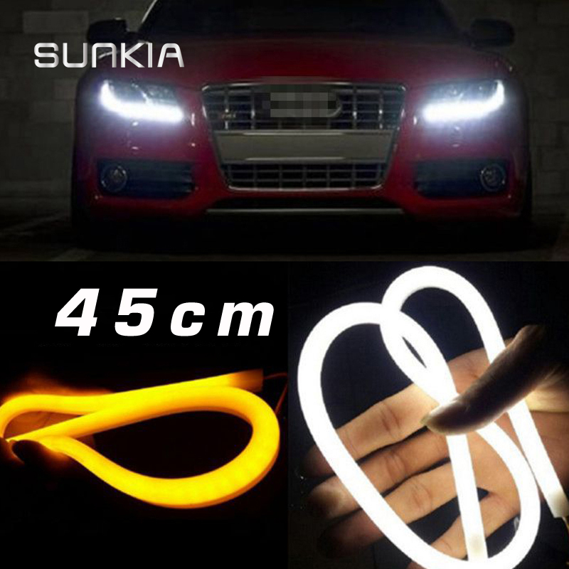 SUNKIA 45CM White/Red/Yellow/Blue/White+Yellow Flexible Headlight Daytime Lamp Switchback Strip Angel Eye DRL Decorative Light car styling 2x white blue red yellow green flexible tube style headlight headlamp strip angel eye drl decorative light parking