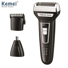 Kemei Men 3 in 1 Multifunction Hair Trimmer Electric Beard Shaver Rechargeable Nose Shavers Clipper