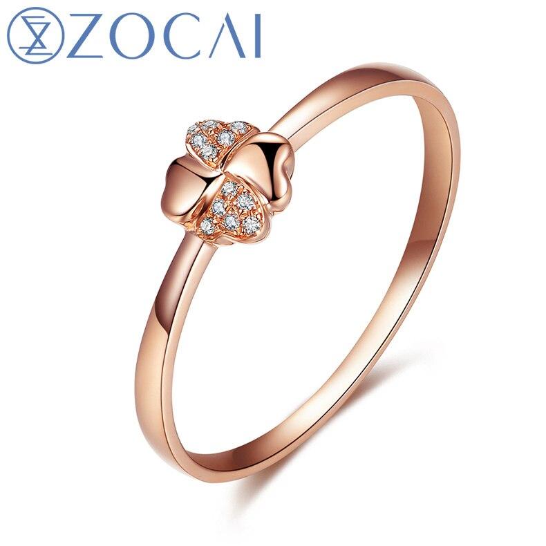 ZOCAI дизайн подарок кольцо Четыре клевер натуральный 0.02 карат кольцо с бриллиантом с Real 18 К розовое золото (Au750) w80027T