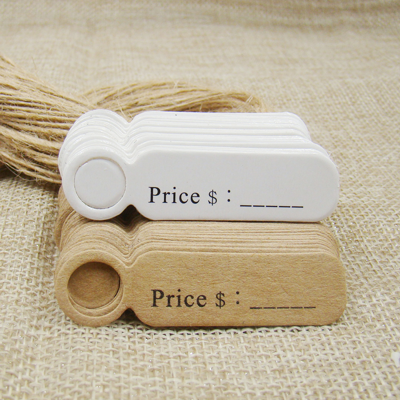 5*1.30cm  Love Shape Kraft/white Price Label Hang Tag Label 100pcs +100pcs Hemp String For Lovely Products Decoration Package