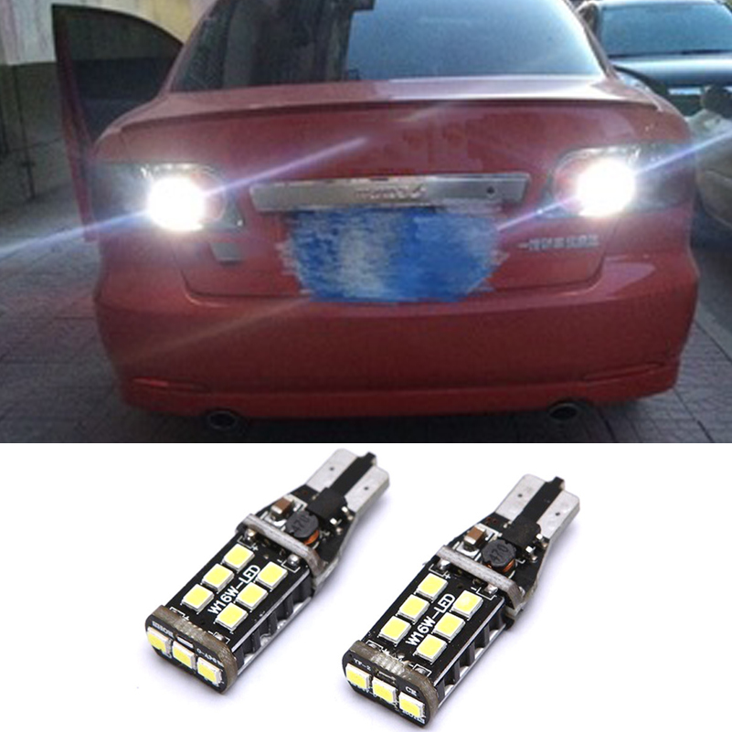 2Pcs Canbus T15 W16W 2835 SMD 15 <font><b>LED</b></font> Car Reverse <font><b>Light</b></font> No Error Backup <font><b>Light</b></font> For <font><b>Mazda</b></font> <font><b>6</b></font> 8 CX-3 CX3 CX-5 CX5 8 CX 5 M8 RX8 M5 image