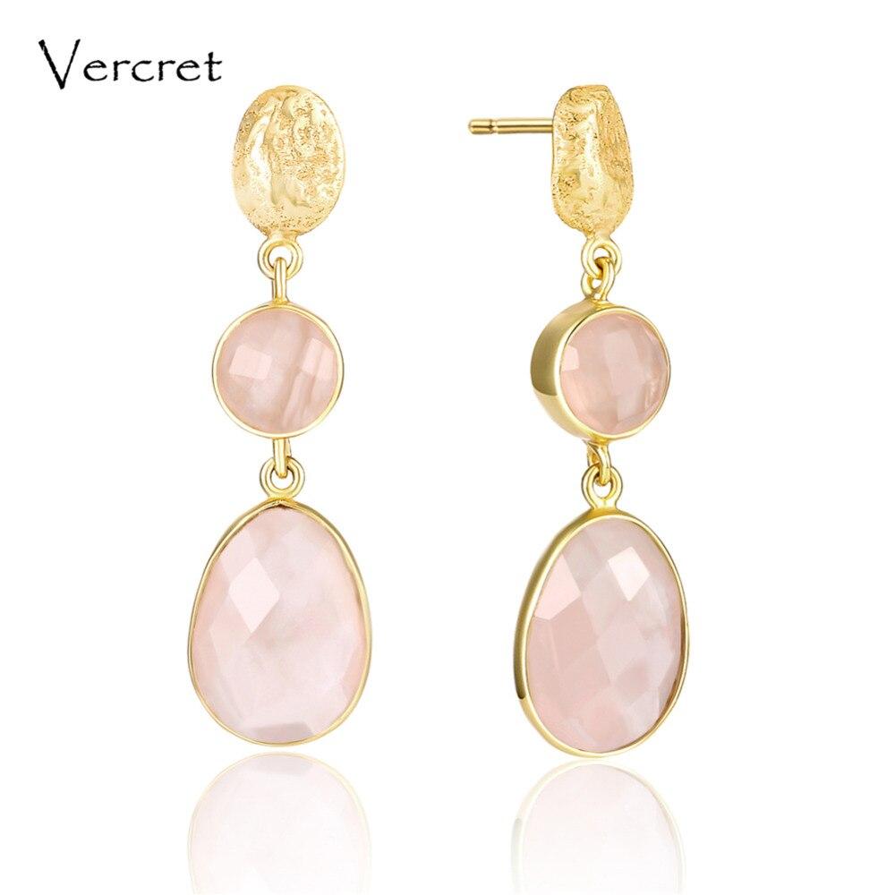 Vercret romantic pink quartz dangle earrings romantic 18k gold 925 sterling silver jewelry earring for women