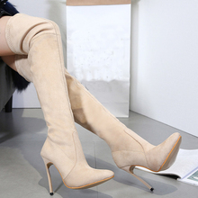 2018 Fashion New Womens Boots Over Them Knee Sexy High Heels Pumps Pointed Toe Shoes Lady Size 40 41 42 aa0711