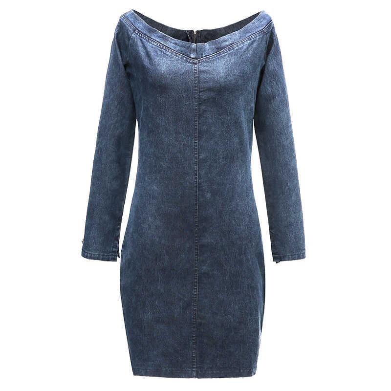 NLW Сексуальная джинсовая с открытыми плечами платье женское 2018 зимнее повседневное короткое платье с длинными рукавами осеннее тонкое мини уличное платье Vestidos