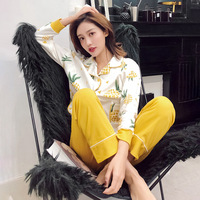 Knitted Cotton Pajamas Pineapple Pajama Set Women Sleep Wear Cute Fashion Home Clothes