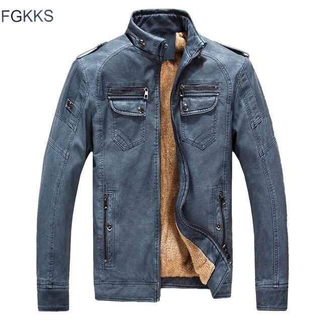 FGKKS 2018 Mùa Đông Thời Trang PU Leather Jacket Nam Nhân Quả Màu Rắn Mens Faux Fur Coats Xu Hướng Mỏng Phù Hợp Thanh Niên Da Lộn Áo Khoác Nam