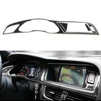 BBQ@FUKA Real Carbon Fiber Car Dashboard Instrument Navigator Cover interior decoration Trim For Audi A4 B8 09 2016 car styling