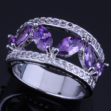 Cheerful Purple Cubic Zirconia White CZ 925 Sterling Silver Ring For Women V0604