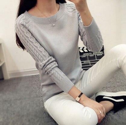 Nuevas mujeres  Otoño invierno gruesa hecha punto camisa de las muchachas ropa f