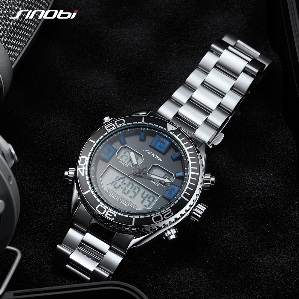 SINOBI sportski modni sat muškarci dvojni zaslon analogni digitalni - Muški satovi - Foto 5