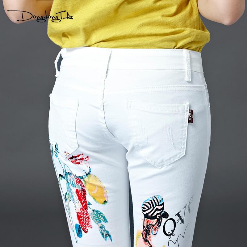 Dongdongta Yeni Kadın Kızlar Kot 2017 Orijinal Tasarım Beyaz Renk - Bayan Giyimi - Fotoğraf 6