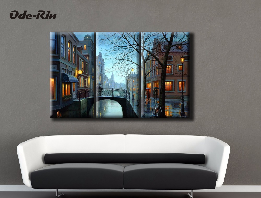 Canvas painting frameless night along the river yellow street light Bridges three kinds of hors doeuvres loneliness ...