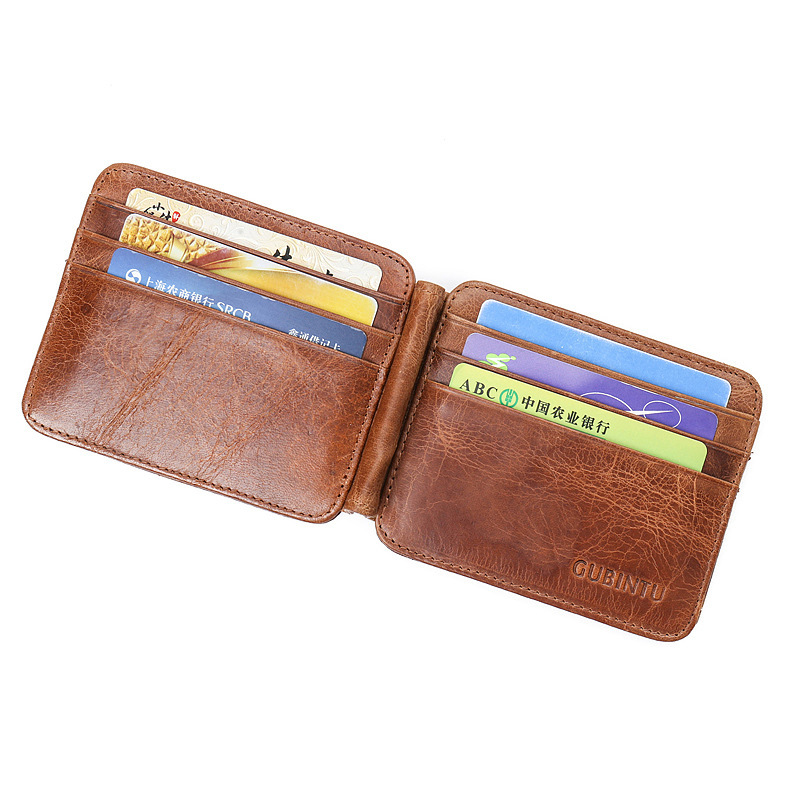 GUBINTU Genuine Cowhide Leather Foreign Classical Retro Qaulity Brown Color 2 Fold Clip Wallet Bank Card Bits Dollar Money Clips