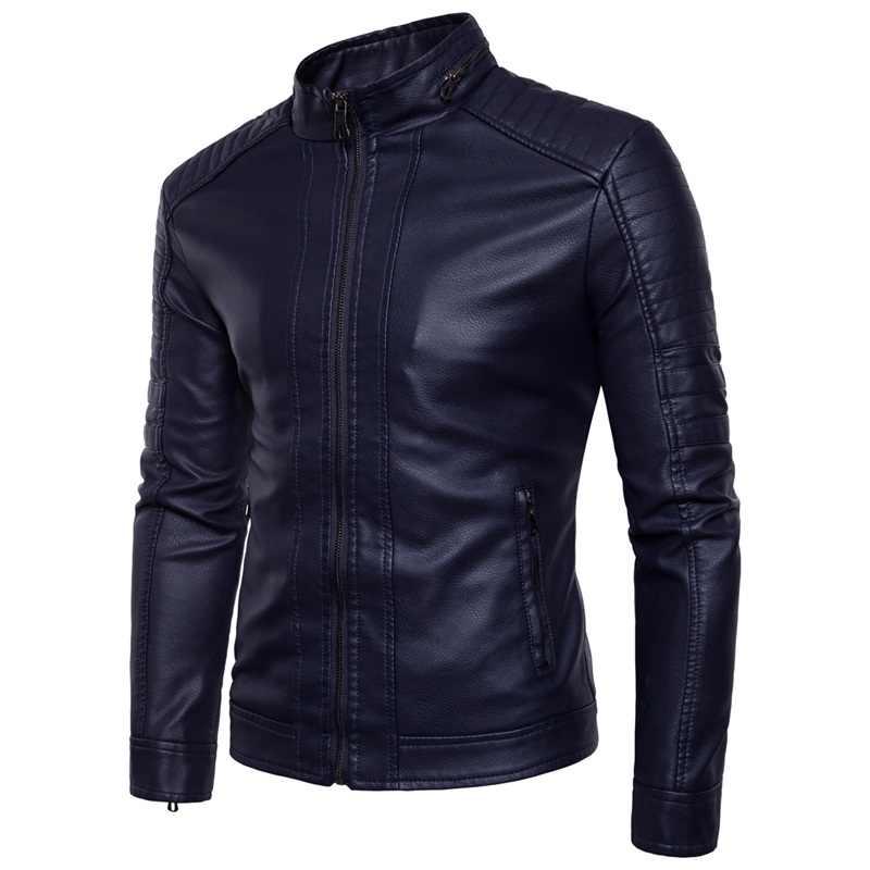 ヨーロッパアメリカンスタイルの男性のスリムジャケット男性ファッション無地タイトなオートバイ冬防風暖かい黒革ジャケット