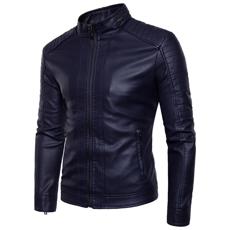 European American Style Men's Slim Jacket Men Fashion Solid Color Tight Motorcycle Winter Windproof  Warm Black Leather Jacket