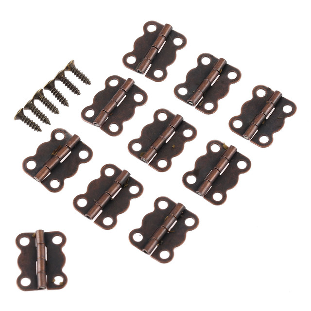 50Pcs 16*13mm Antique Red Bronze Cabinet Hinges Furniture Accessories  Jewelry Boxes Small Hinge Furniture