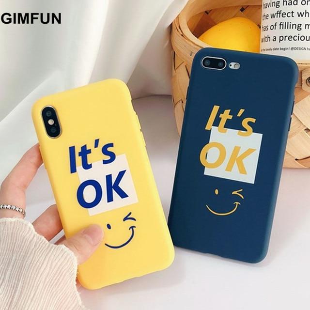 f3d4777fa6 Gimfun Korea Fashion Simple Yellow English Letter Case for IPhone X 7 7plus  6 6S 6 8 Plus Matte Tpu Back Cover Cases Fundas