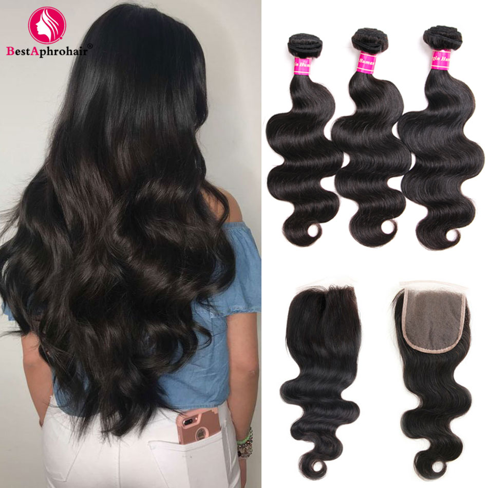 Closure Human-Hair-Weave-Bundles Body-Wave 3-Bundles Aphro Brazilian With Free/Middle-Part