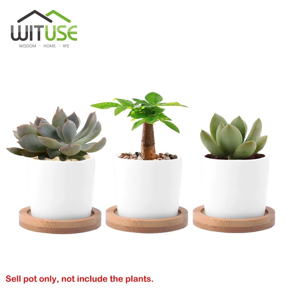 WITUSE 2PCS Mini Glazed White Ceramic Succulent Craft Bonsai Planter Flower Herb Pot Round Water Tank Window Kitchen Decoration