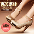 2017 It Is Waterproof Round Head High Heels Wedding Shoes Red Single Female Golden Thick with the Bride Shoes for Women's Shoes