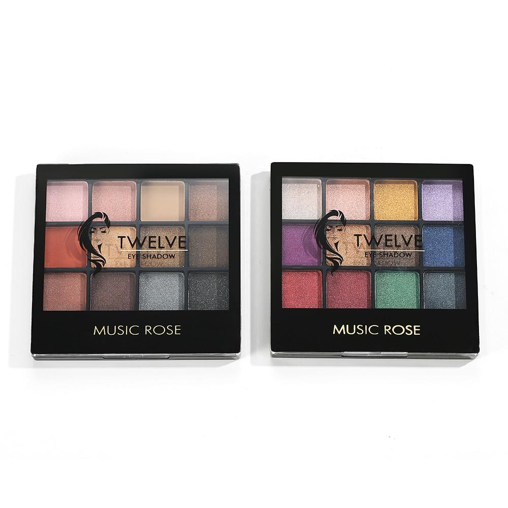 MUSIC ROSE 12 Colors Shimmer Eyeshadow Palette Glitter Pink Eyeshadow Palette Waterproof Eyeshadow Pallete Women Girl Gift in Eye Shadow from Beauty Health