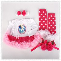 4PCs Per Set Infant Outfits White Baby Girls Long Sleeves Tutu Dress Headband Shoes Leggings For