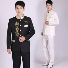 Chinese style Embroidery Male Suits Black White Blazers Prom Party Stage Outfit Formal Singer Chorus Costume Wedding groom Suit fashion kids baby boy blazers suit formal black white clothing prom party wedding casual costume flower boy outfit the suits