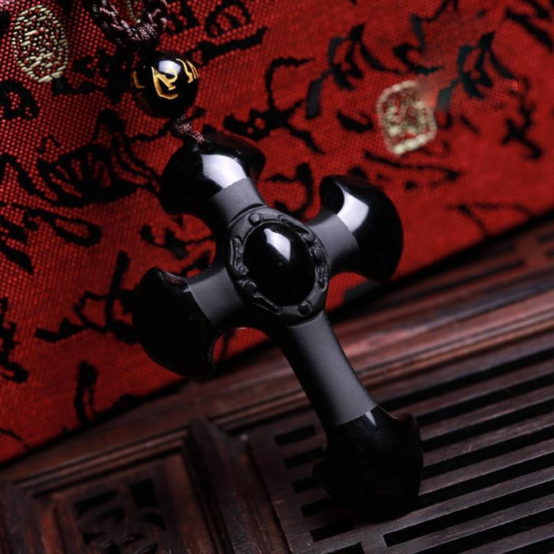 En gros Naturel Noir Obsidienne Sculptée Croix Pendentif Chanceux - Bijoux fantaisie - Photo 4