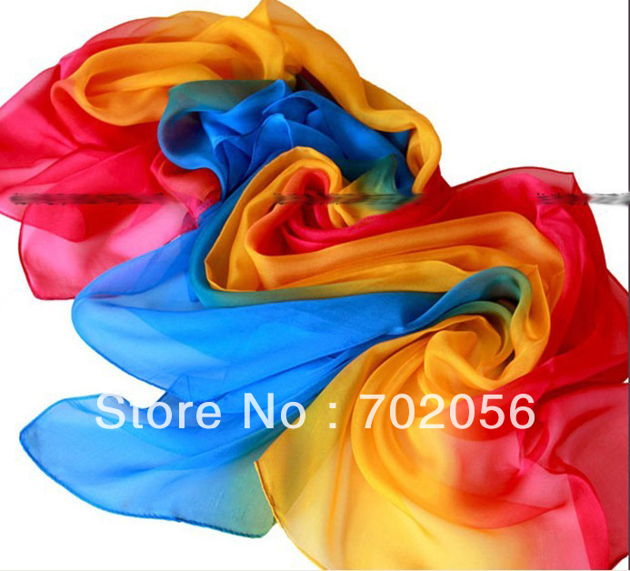 20 colors women's shaded 100% silk Satin Sarongs Hijabs Bandanas Scarf wrap shawl poncho 170*68cm mixed color 10pcs/lot #3353