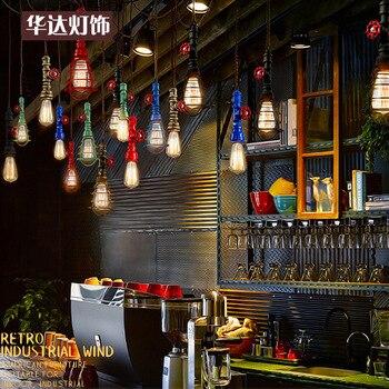 Individual American retro loft industrial Iron  pendant light meal living room single head bar pipe rope hanging lighting