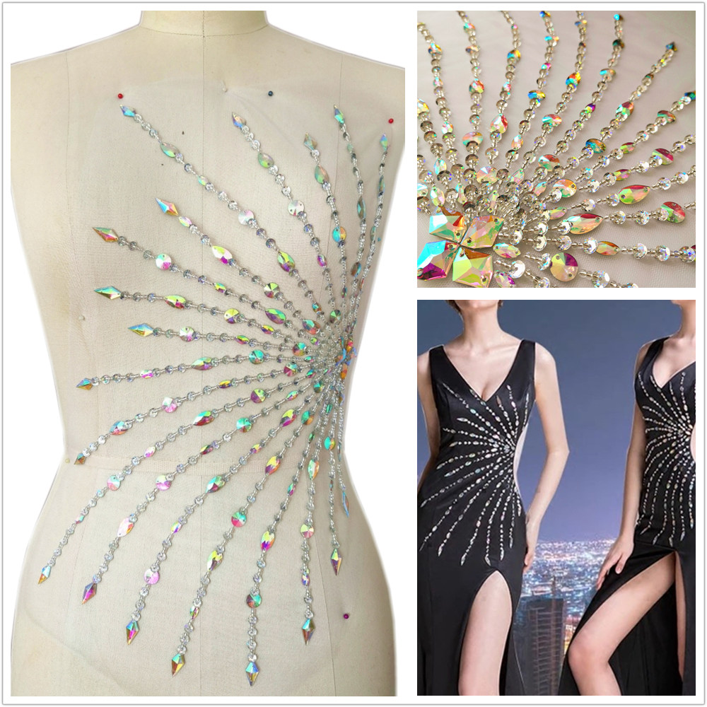 Beaded Hand Made 21x34cm Crystals Stones Rhinestones Appliques Patches Designers Sewing Diy For Crafts Wedding Dress Accessories in Patches from Home Garden