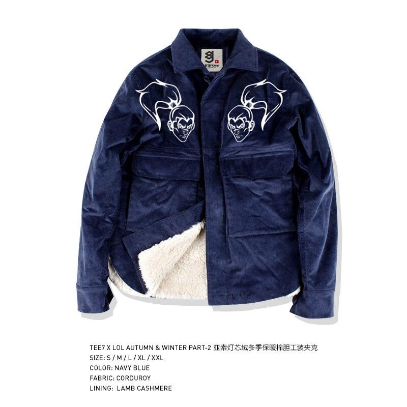 Tee7 Game LOL Corduroy Jacket For Men Fleece Thick Coat Male Winter Pocket Jacket Fashion Top Quality Blouse Men Brand Clohting
