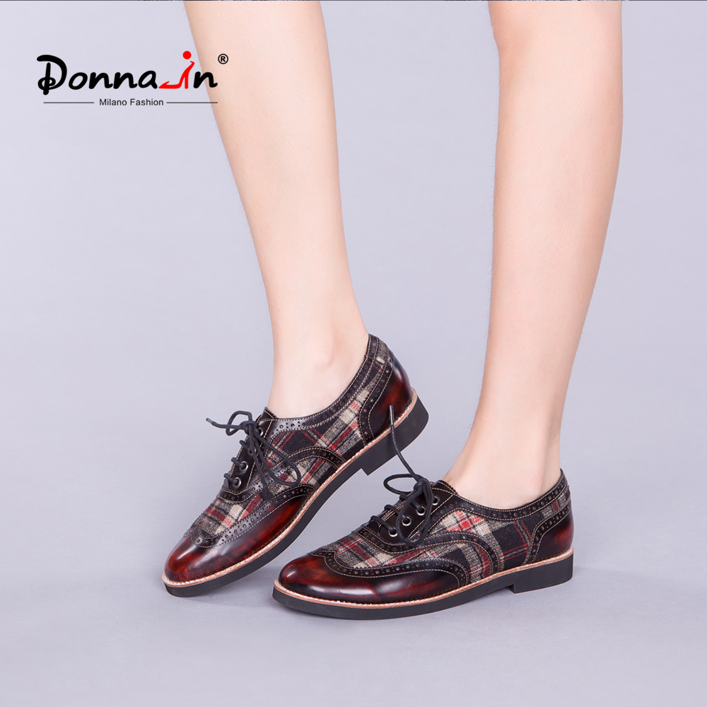 Donna-in 2018 Women Genuine Leather Flats Lace-up Brogue Shoes British style Oxfords Shoes Flat Heel Women Shoes For Spring brand new spring men fashion lace up leather retro brogue shoes casual flat breathable carved shoes bullock oxfords shoes wb 55