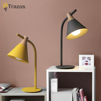 Colour Table Lamp TRAZOS Vintage Loft Wooden Led Desk Lamp Adjustable Reading Light Office Lamp Home Lighting Decor Stores