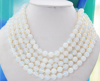 00254 10mm round Cream white opal bead necklace 100inch