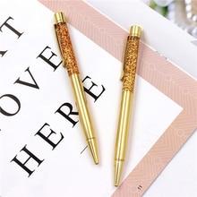 Creatively 1.0mm Luxury Ballpoint flow oil crystal foil Metal pen