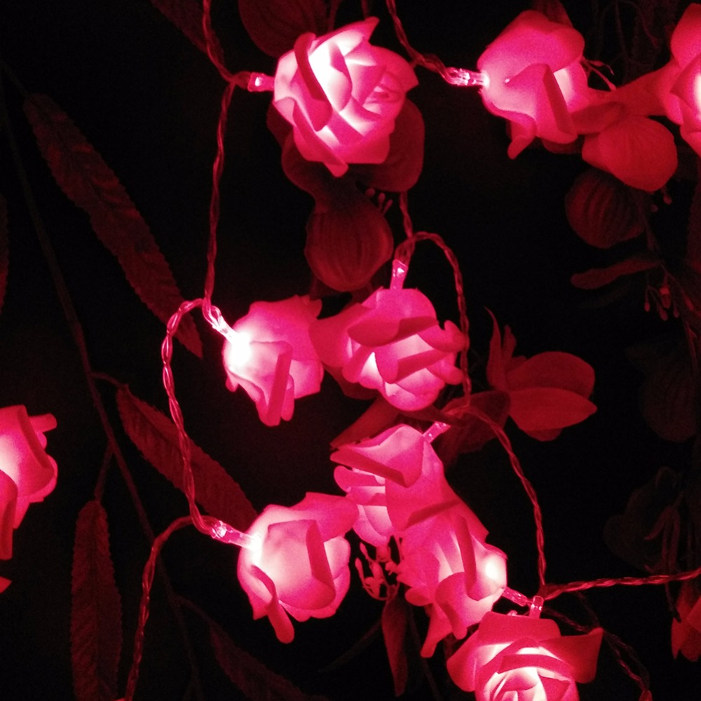 5M 50LED Holiday Rose Garland LED Strålkastare AA Batteri Ferias - Festlig belysning - Foto 1