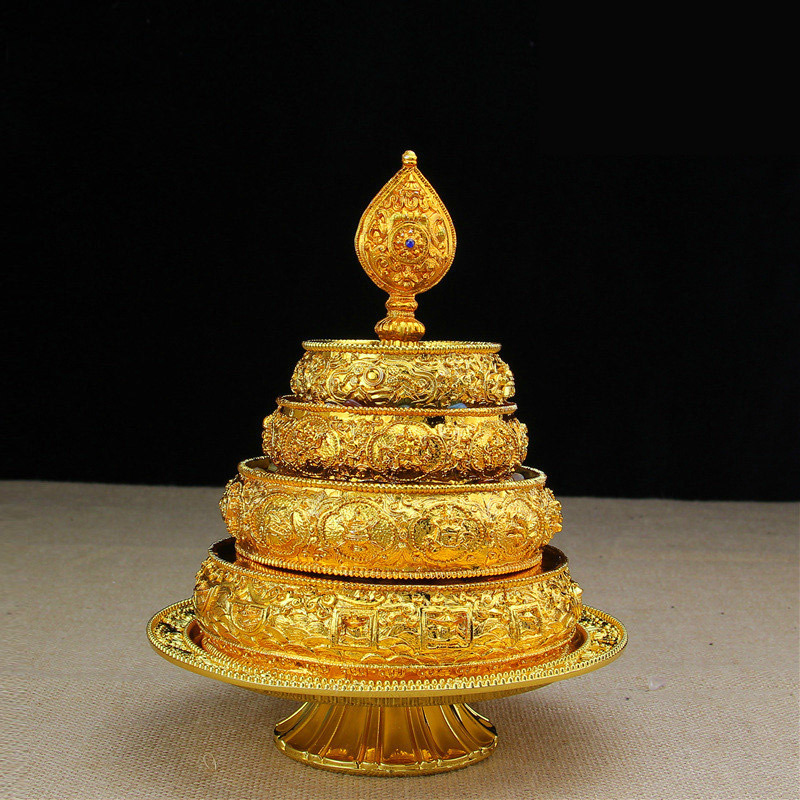 Special Nepal Handmade Manza Tray Gemstone Offering Bowl Alloy Material Small Size With Height 20 8cm