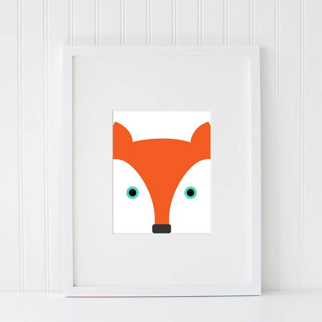 Lovely Fox Wall Art Printable Kids Room Decor In Digital Ilration Poster Pictures