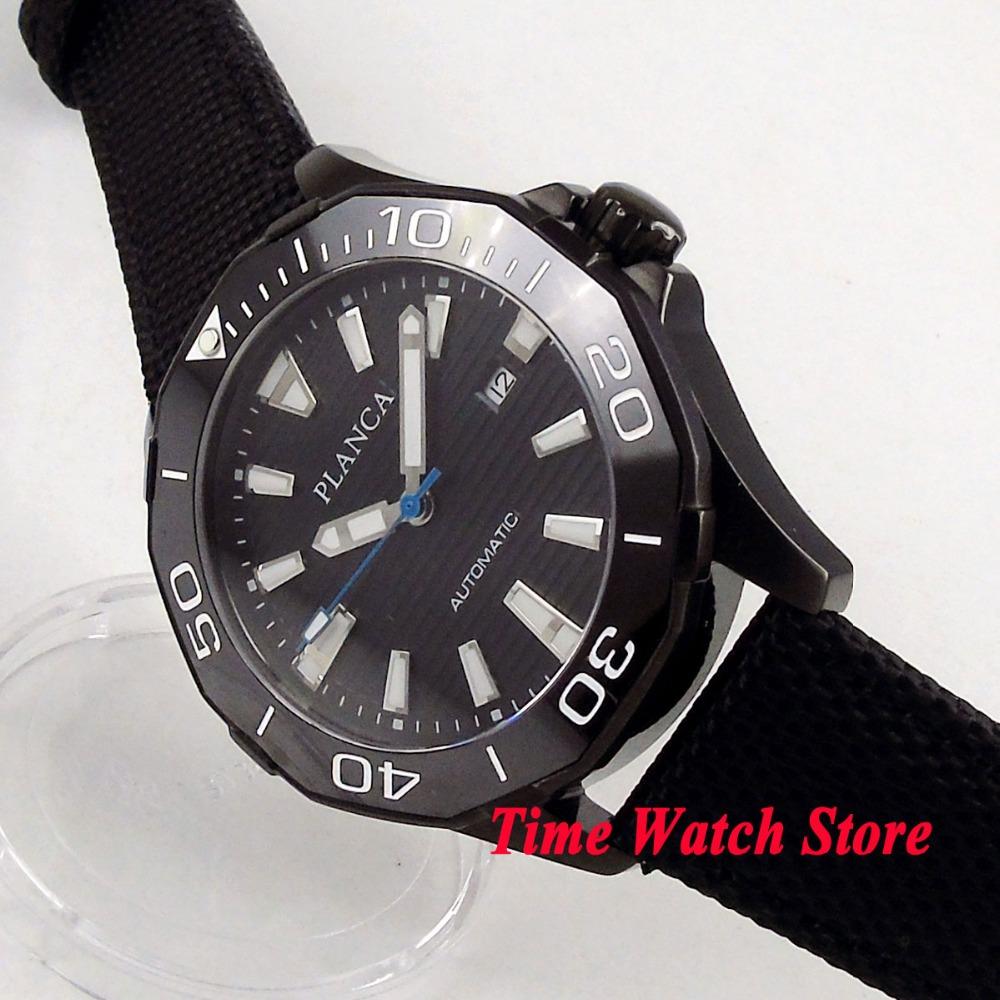 45mm PLANCA mens watch black dial ceramic bezel sapphire glass 5ATM MIYOTA Automatic movement wrist watch PL1145mm PLANCA mens watch black dial ceramic bezel sapphire glass 5ATM MIYOTA Automatic movement wrist watch PL11