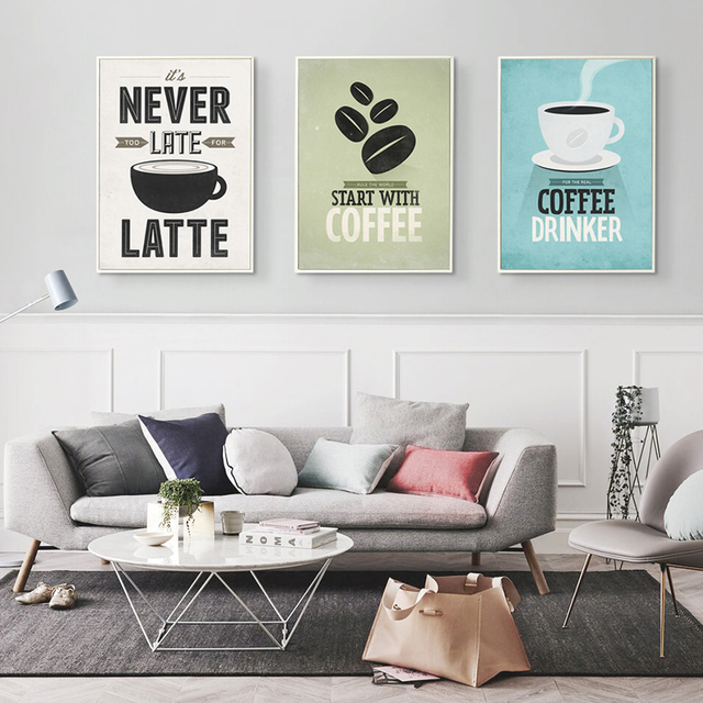 Coffee Canvas Painting Print Poster Cafe Modern Art  1
