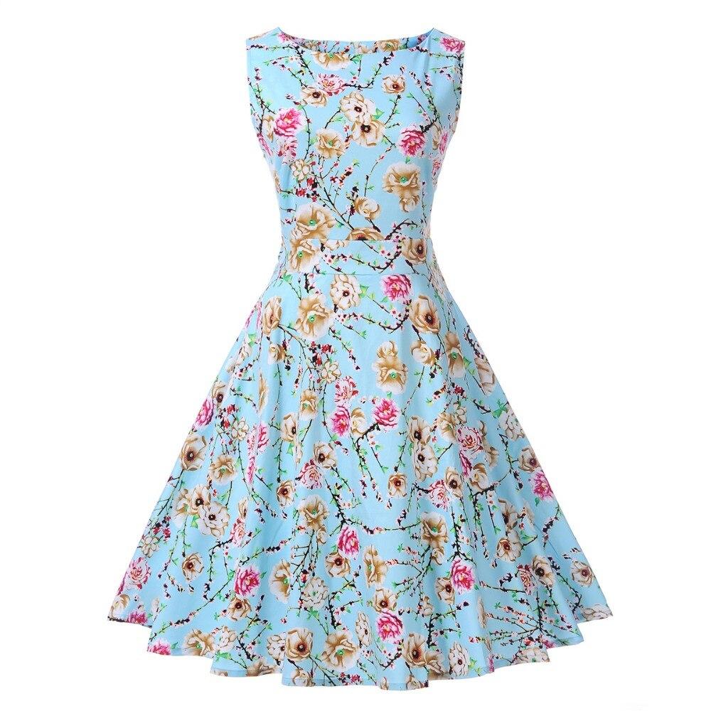 Women\'s Vintage O Neck Sleeveless Slim Swing Cotton Dress Retro ...