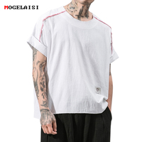 Summer Men T Shirt Linen Cotton Solid Tees O Neck Short Plus Loose Tshirt For Men